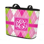 Pink & Green Argyle Bucket Tote w/ Genuine Leather Trim (Personalized)