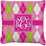 Pink & Green Argyle Burlap Throw Pillow (Personalized)