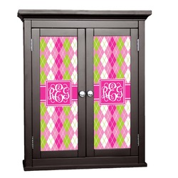 Pink & Green Argyle Cabinet Decal - Custom Size (Personalized)