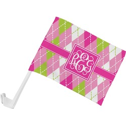 Pink & Green Argyle Car Flag (Personalized)