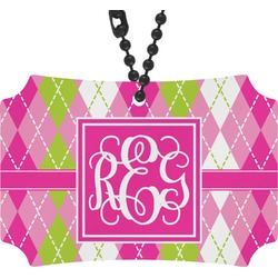 Pink & Green Argyle Rear View Mirror Ornament (Personalized)