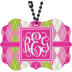 Pink & Green Argyle Rear View Mirror Charm (Personalized)