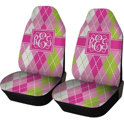 Pink & Green Argyle Car Seat Covers (Set of Two) (Personalized)