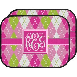 Pink & Green Argyle Car Floor Mats (Back Seat) (Personalized)