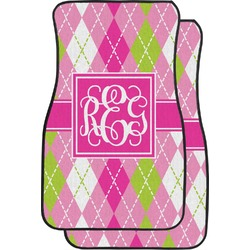 Pink & Green Argyle Car Floor Mats (Front Seat) (Personalized)