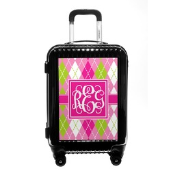 Pink & Green Argyle Carry On Hard Shell Suitcase (Personalized)
