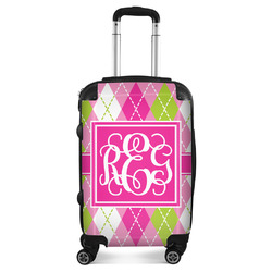 Pink & Green Argyle Suitcase (Personalized)
