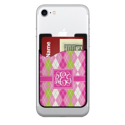 Pink & Green Argyle 2-in-1 Cell Phone Credit Card Holder & Screen Cleaner (Personalized)
