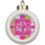 Pink & Green Argyle Ceramic Ball Ornament (Personalized)