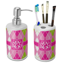 Pink & Green Argyle Bathroom Accessories Set (Ceramic) (Personalized)