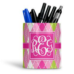 Pink & Green Argyle Ceramic Pen Holder