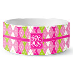 Pink & Green Argyle Ceramic Dog Bowl (Personalized)