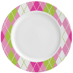 Pink & Green Argyle Ceramic Dinner Plates (Set of 4) (Personalized)