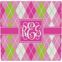 Pink & Green Argyle Ceramic Tile Hot Pad (Personalized)