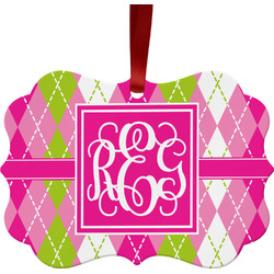 Pink & Green Argyle Ornament (Personalized)