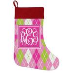 Pink & Green Argyle Holiday Stocking w/ Monogram