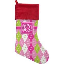Pink & Green Argyle Christmas Stocking (Personalized)