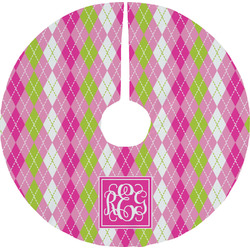 Pink & Green Argyle Tree Skirt (Personalized)
