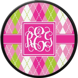 Pink & Green Argyle Round Trailer Hitch Cover (Personalized)