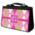 Pink & Green Argyle Classic Tote Purse w/ Leather Trim (Personalized)