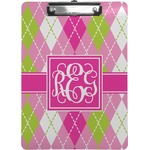 Pink & Green Argyle Clipboard (Personalized)