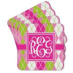 Pink & Green Argyle Cork Coaster - Set of 4 w/ Monogram
