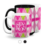 Pink & Green Argyle Coffee Mugs (Personalized)