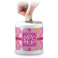 Pink & Green Argyle Coin Bank (Personalized)