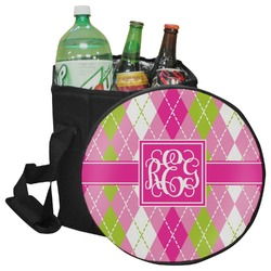 Pink & Green Argyle Collapsible Cooler & Seat (Personalized)