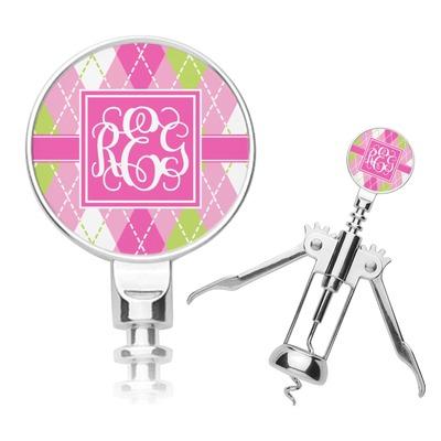 Pink & Green Argyle Corkscrew (Personalized)