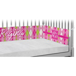 Pink & Green Argyle Crib Bumper Pads (Personalized)