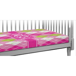 Pink & Green Argyle Crib Fitted Sheet (Personalized)