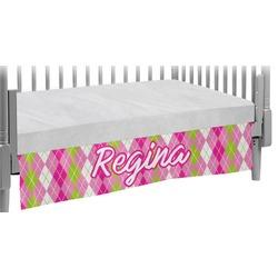 Pink & Green Argyle Crib Skirt (Personalized)