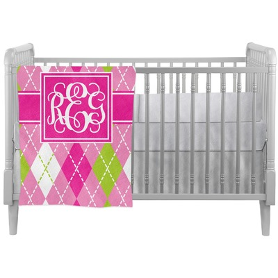 Pink & Green Argyle Crib Comforter / Quilt (Personalized)