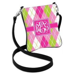 Pink & Green Argyle Cross Body Bag - 2 Sizes (Personalized)