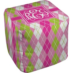 Pink & Green Argyle Cube Pouf Ottoman (Personalized)