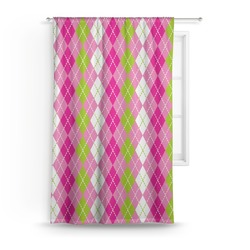 Pink & Green Argyle Curtain (Personalized)