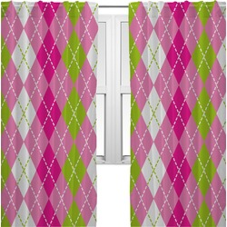 Pink & Green Argyle Curtains (2 Panels Per Set) (Personalized)