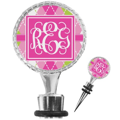 Pink & Green Argyle Wine Bottle Stopper (Personalized)
