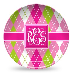 Pink & Green Argyle Microwave Safe Plastic Plate - Composite Polymer (Personalized)
