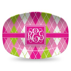 Pink & Green Argyle Plastic Platter - Microwave & Oven Safe Composite Polymer (Personalized)