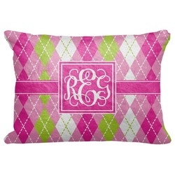 """Pink & Green Argyle Decorative Baby Pillowcase - 16""""x12"""" (Personalized)"""