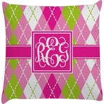 Pink & Green Argyle Decorative Pillow Case (Personalized)