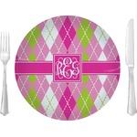 Pink & Green Argyle Glass Lunch / Dinner Plates 10