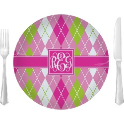 "Pink & Green Argyle Glass Lunch / Dinner Plates 10"" - Single or Set (Personalized)"