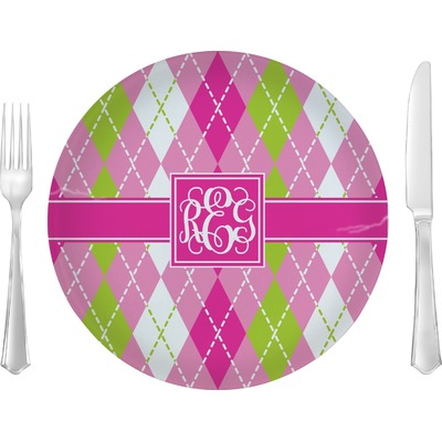 """Pink & Green Argyle 10"""" Glass Lunch / Dinner Plates - Single or Set (Personalized)"""