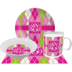 Pink & Green Argyle Dinner Set - Single 4 Pc Setting w/ Monograms