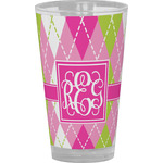 Pink & Green Argyle Drinking / Pint Glass (Personalized)