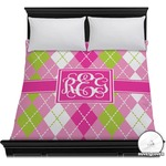 Pink & Green Argyle Duvet Cover (Personalized)