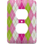 Pink & Green Argyle Electric Outlet Plate (Personalized)